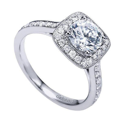 DIAMOND ENGAGEMENT RINGS - 14K White Gold 1.48cttw Bead Set Cushion Shaped Halo Round Diamond Engagement Ring
