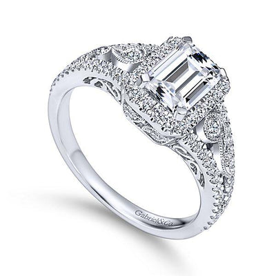 DIAMOND ENGAGEMENT RINGS - 14K White Gold 1.49cttw Vintage Inspired Emerald Cut Halo Diamond Engagement Ring