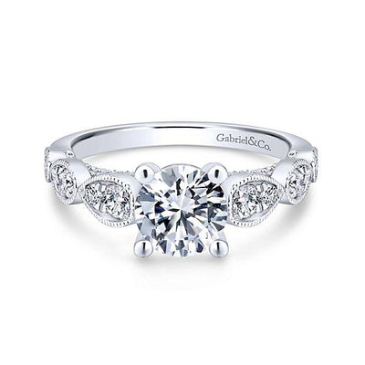 DIAMOND ENGAGEMENT RINGS - 14K White Gold 1.49cttw Vintage Station Diamond Engagement Ring