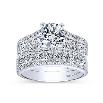 DIAMOND ENGAGEMENT RINGS - 14K White Gold 1.50cttw Triple Row Round Diamond Engagement Ring