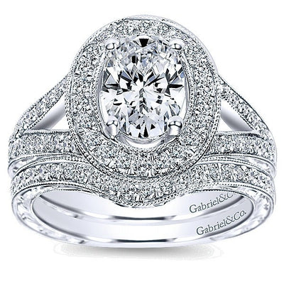 DIAMOND ENGAGEMENT RINGS - 14K White Gold 1.55cttw Classic Oval Halo Split Shank Diamond Engagement Ring