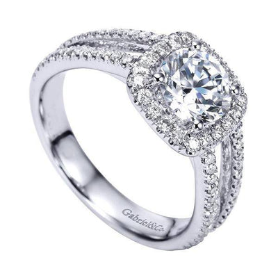 DIAMOND ENGAGEMENT RINGS - 14K White Gold 1.55cttw Split-Shank French Pave Set Round Diamond Engagement Ring With Cushion Shaped Halo