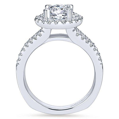 DIAMOND ENGAGEMENT RINGS - 14K White Gold 1.55cttw Split Shank Round Halo Diamond Engagement Ring