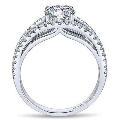 DIAMOND ENGAGEMENT RINGS - 14K White Gold 1.55cttw Wide Rounded Split Shank Diamond Engagement Ring