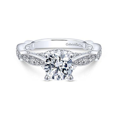 DIAMOND ENGAGEMENT RINGS - 14K White Gold 1.58cttw Vintage Station Round Diamond Engagement Ring