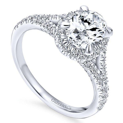 DIAMOND ENGAGEMENT RINGS - 14K White Gold 1.59cttw Oval Halo Split Shank Diamond Engagement Ring