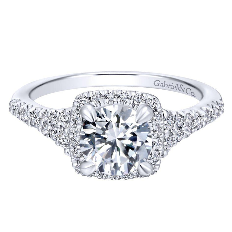 14K White Gold 1.59cttw Square Cushion Halo Round Diamond