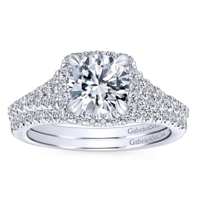 DIAMOND ENGAGEMENT RINGS - 14K White Gold 1.59cttw Square Cushion Halo Round Diamond Engagement Ring