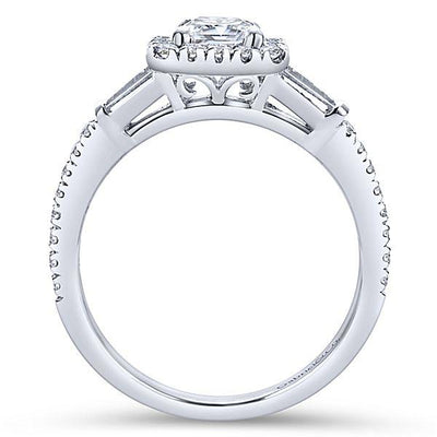 DIAMOND ENGAGEMENT RINGS - 14K White Gold 1.60cttw Emerald Cut Halo Diamond Engagement Ring With Baguette Accents