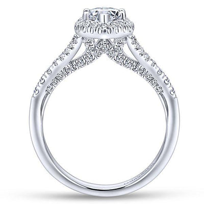 DIAMOND ENGAGEMENT RINGS - 14K White Gold 1.63cttw Marquise Shaped Halo Split Shank Diamond Engagement Ring