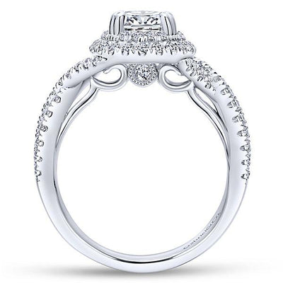 DIAMOND ENGAGEMENT RINGS - 14K White Gold 1.68cttw Oval Double Halo Diamond Engagement Ring With Crossover Shank