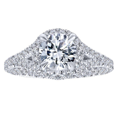 DIAMOND ENGAGEMENT RINGS - 14K White Gold 1.69cttw Round Halo Split Shank Round Diamond Engagement Ring