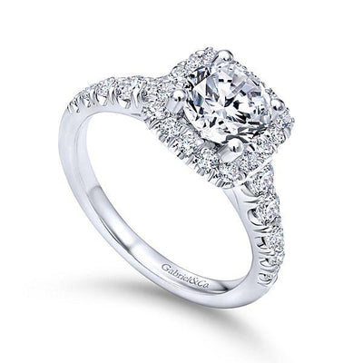 DIAMOND ENGAGEMENT RINGS - 14K White Gold 1.70cttw Cushion Shaped Halo Round Diamond Engagement Ring