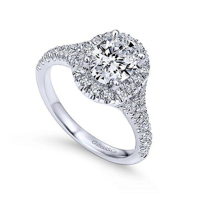 DIAMOND ENGAGEMENT RINGS - 14K White Gold 1.71cttw Oval Halo Diamond Engagement Ring With Subtle Split Shank