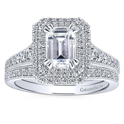 DIAMOND ENGAGEMENT RINGS - 14K White Gold 1.71cttw Vintage Inspired Double Halo Emerald Cut Diamond Engagement Ring