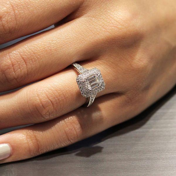 14K White Gold Vintage Inspired Double Halo Emerald Cut Diamond Engagement  Ring