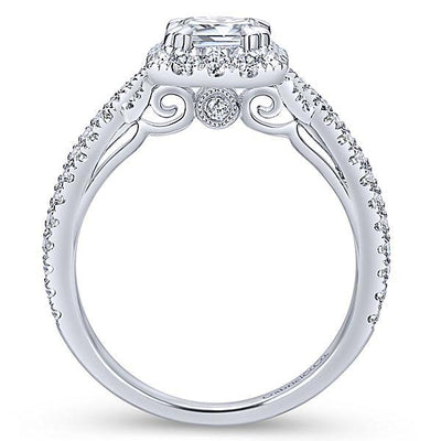 DIAMOND ENGAGEMENT RINGS - 14K White Gold 1.73cttw Emerald Cut Halo Diamond Engagement Ring With Crossover Shank