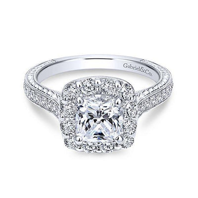 DIAMOND ENGAGEMENT RINGS - 14K White Gold 1.75cttw Cushion Cut Halo Diamond Engagement Ring