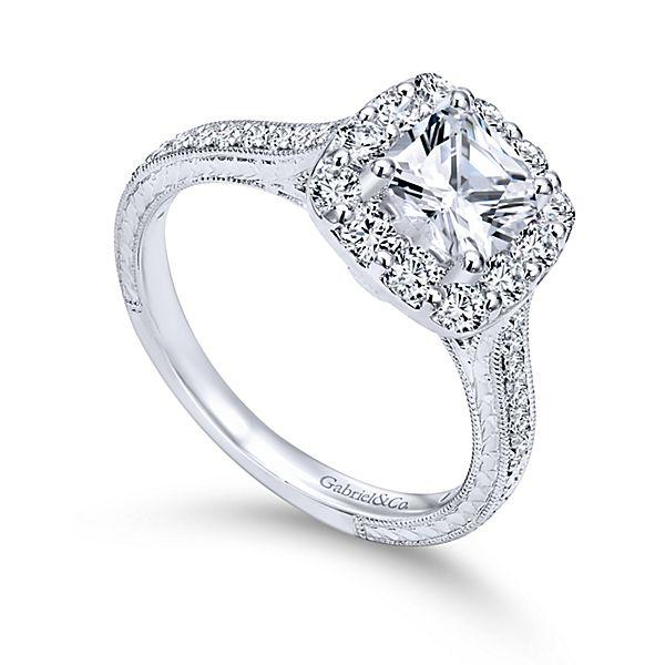 1373541b766 14K White Gold Cushion Cut Halo Diamond Engagement Ring