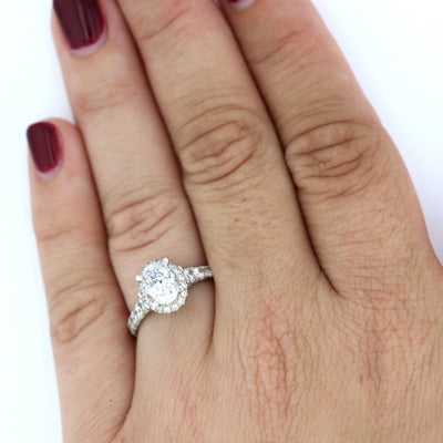 DIAMOND ENGAGEMENT RINGS - 14K White Gold 1.80cttw Oval Halo Diamond Engagement Ring With Tapered Diamond Sides
