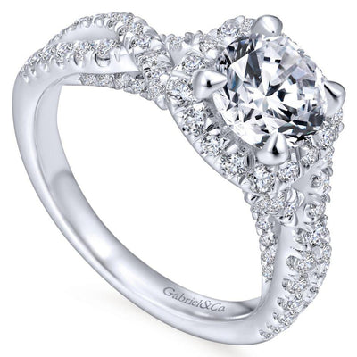 DIAMOND ENGAGEMENT RINGS - 14K White Gold 1.85cttw Cushion Shaped Halo With Crossover Shank Round Diamond Engagement Ring