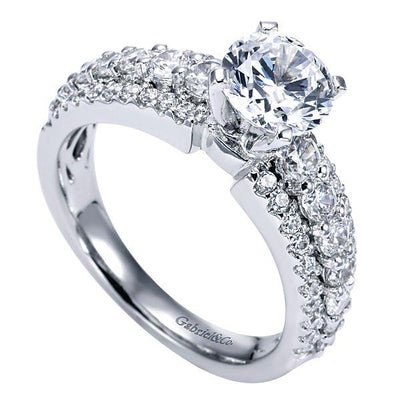 DIAMOND ENGAGEMENT RINGS - 14K White Gold 1.90cttw Triple Row Common Prong Round Diamond Engagement Ring