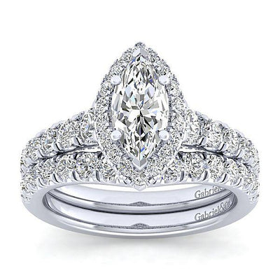 DIAMOND ENGAGEMENT RINGS - 14K White Gold 1.96cttw Marquise Shaped Halo Diamond Engagement Ring