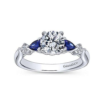 14K White Gold .10cttw Pear Shaped Blue Sapphire and Diamond Engagement Ring