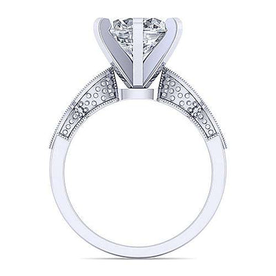 14K White Gold .10cttw Victorian Inspired Round Diamond Engagement Ring with Marquise Shaped Stations