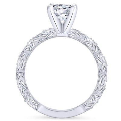14k White Gold .13cttw Victorian Style Marquise Shaped Station Round Diamond Engagement Ring