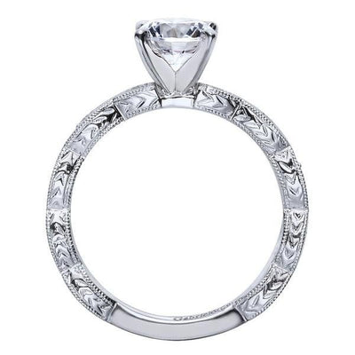 DIAMOND ENGAGEMENT RINGS - 14K White Gold .13cttw Victorian Style Marquise Shaped Station Round Diamond Mounting