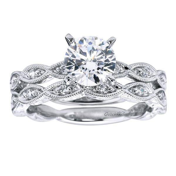 14k White Gold 13cttw Victorian Style Marquise Shaped