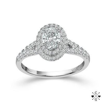 DIAMOND ENGAGEMENT RINGS - 14K White Gold 1cttw Oval Shaped Double Halo Diamond Engagement Ring