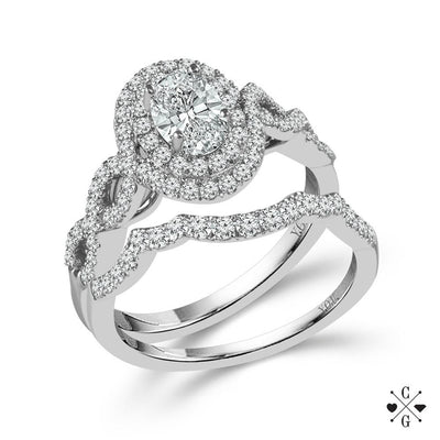 DIAMOND ENGAGEMENT RINGS - 14K White Gold 1cttw Oval Shaped Double Halo Diamond Engagement Ring With Crossover Shank
