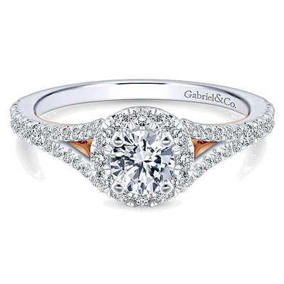 DIAMOND ENGAGEMENT RINGS - 14K White Gold 1cttw Split Shank Halo With Blush Detail