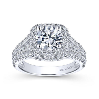 DIAMOND ENGAGEMENT RINGS - 14K White Gold 2.00cttw Cushion Shaped Double Halo With Triple Diamond Shank Round Diamond Engagement Ring