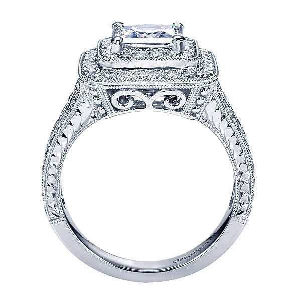 14K White Gold 2 25cttw Double Halo Princess Cut Diamond Engagement Ri Mull
