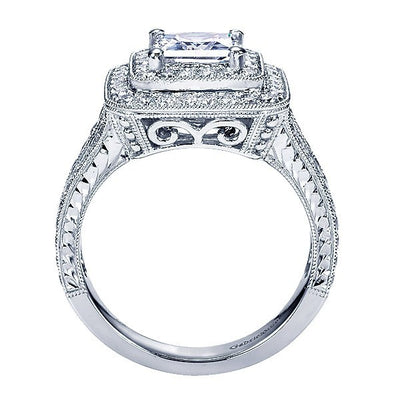 4787f629a2a39 14K White Gold 2.25cttw Double Halo Princess Cut Diamond Engagement Ring