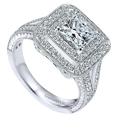DIAMOND ENGAGEMENT RINGS - 14K White Gold 2.25cttw Double Halo Princess Cut Diamond Engagement Ring