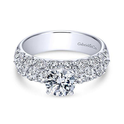 DIAMOND ENGAGEMENT RINGS - 14K White Gold 2.40cttw Double Row Common Prong Diamond Engagement Ring