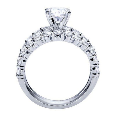 DIAMOND ENGAGEMENT RINGS - 14K White Gold 2.65cttw Common Prong Set Split Shank Style Diamond Engagement Ring