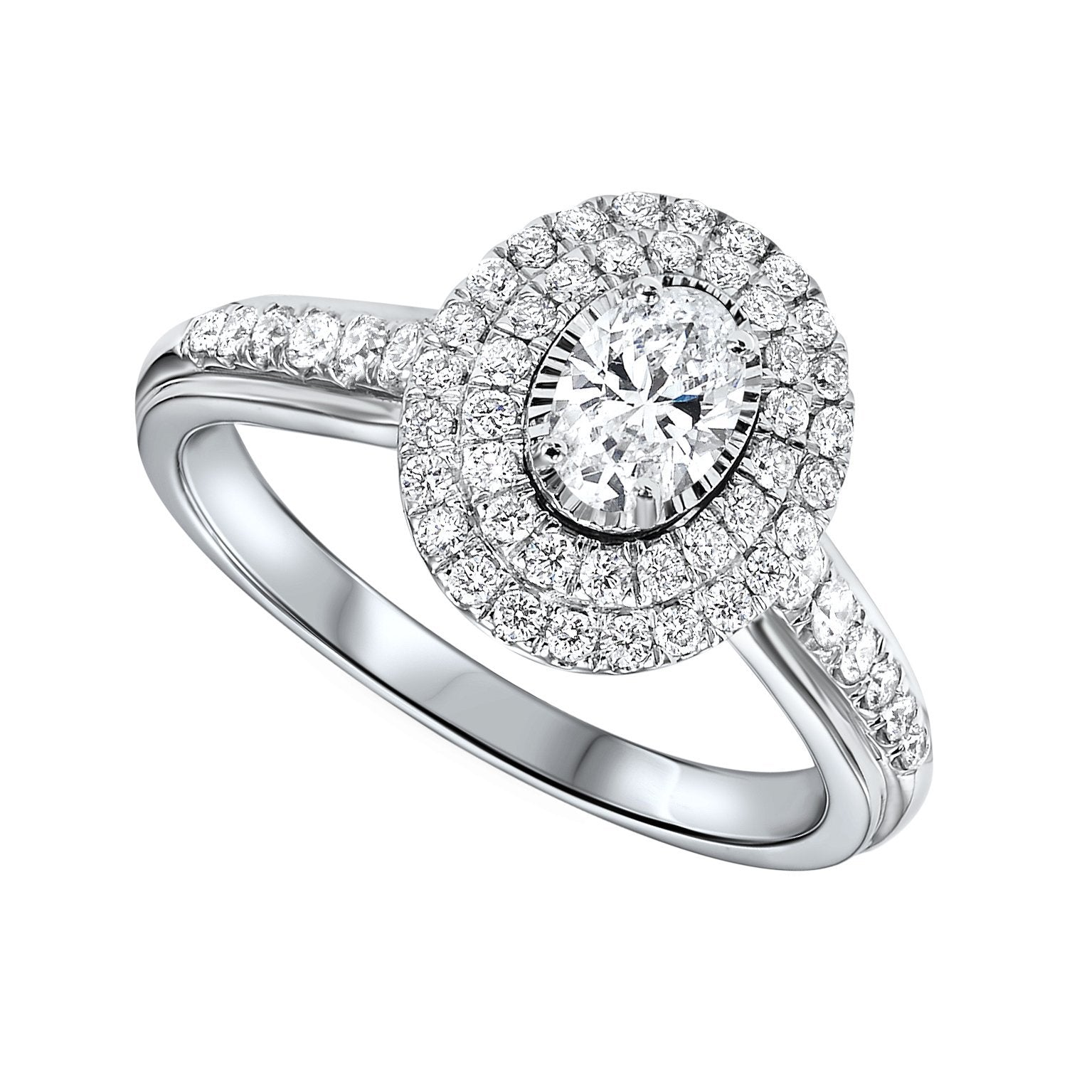4827c6a7d4624 14K White Gold 3/4cttw Oval True Reflections Double Halo Engagement Ring