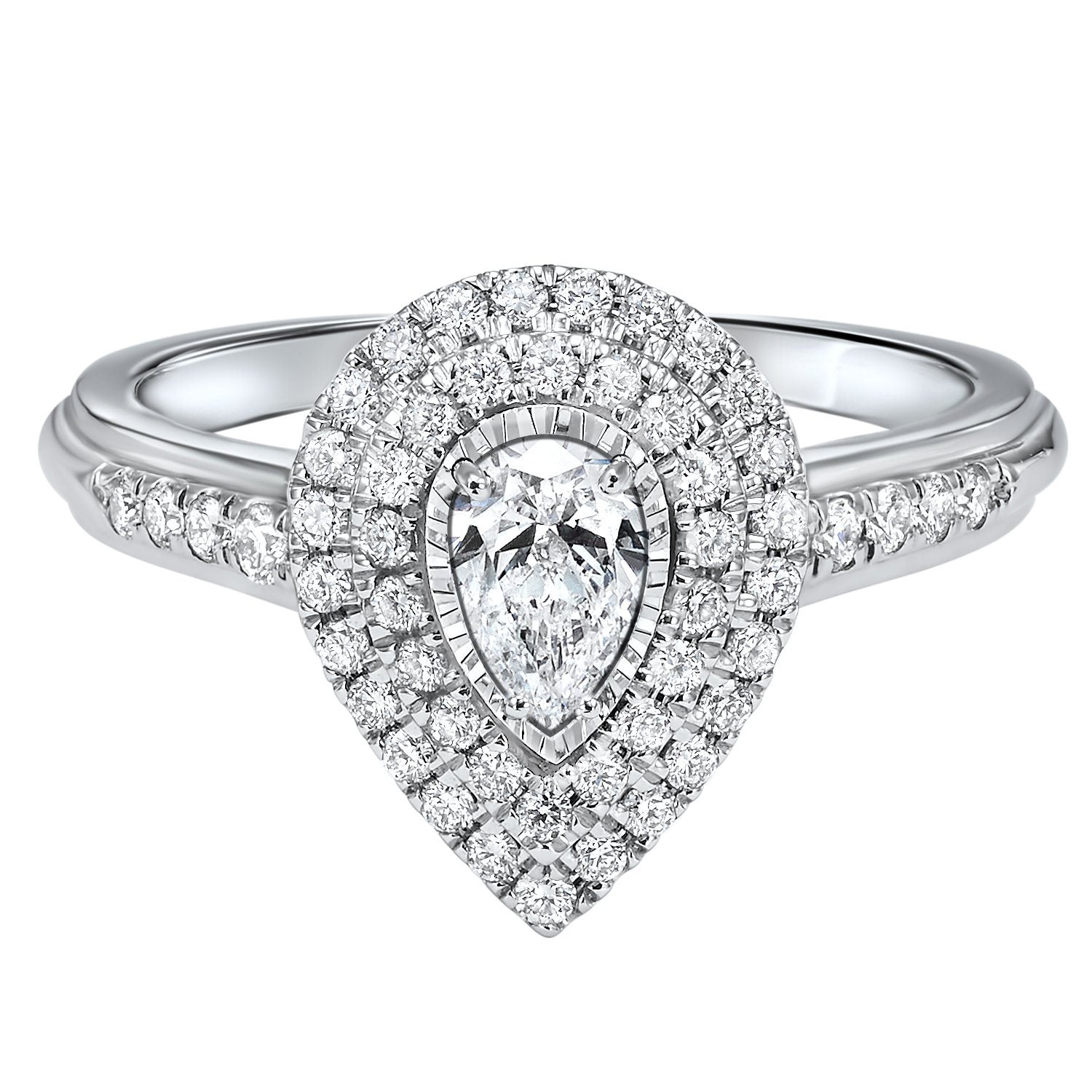 7f4ea019a2b70 14K White Gold 3/4cttw Pear Shaped True Reflections Double Halo Engagement  Ring