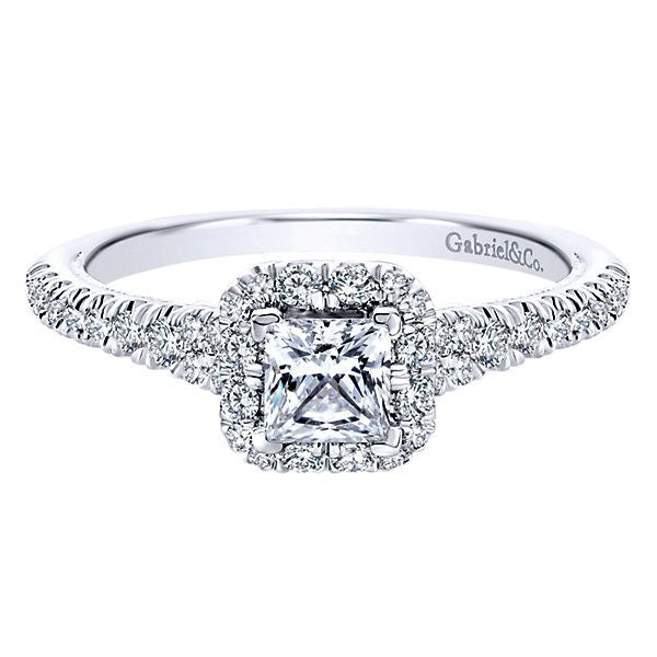 14k White Gold 3 4cttw Princess Cut Halo Diamond Engagement Ring