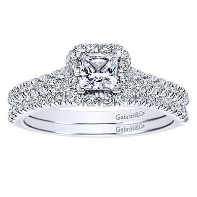 DIAMOND ENGAGEMENT RINGS - 14K White Gold 3/4cttw Princess Cut Halo Diamond Engagement Ring