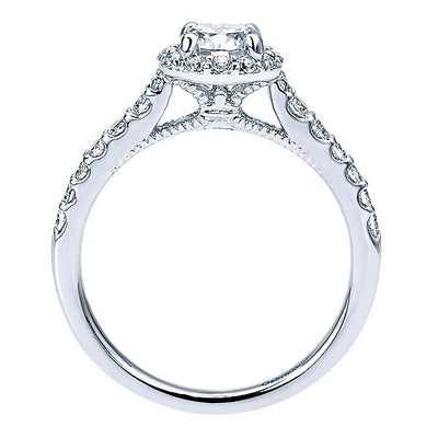 DIAMOND ENGAGEMENT RINGS - 14K White Gold 3/4cttw Round Halo Diamond Engagement Ring