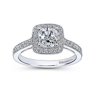 14K White Gold .30cttw Classic Cushion Halo Cushion Diamond Engagement Ring