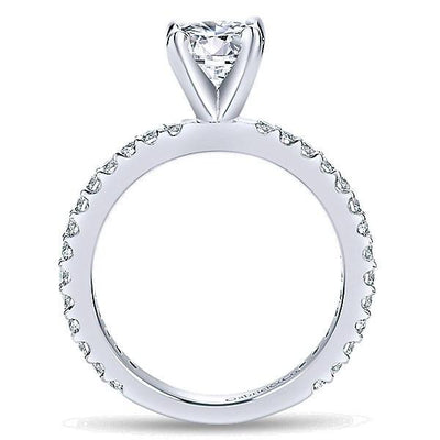 DIAMOND ENGAGEMENT RINGS - 14K White Gold .36cttw Pave Round Diamond Engagement Ring