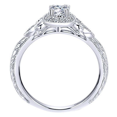 DIAMOND ENGAGEMENT RINGS - 14K White Gold .37cttw Vintage Halo Diamond Engagement Ring