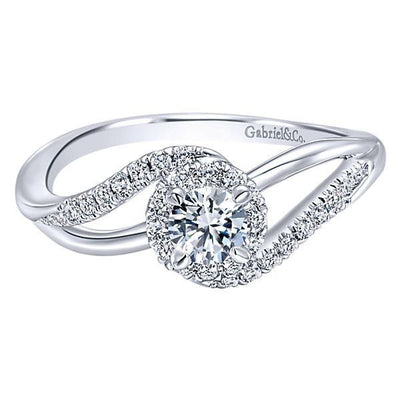 DIAMOND ENGAGEMENT RINGS - 14K White Gold .41cttw Curved Split Shank Halo Diamond Engagement Ring